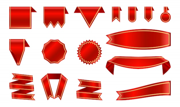 Nastro rosso satinato ed etichette con montatura in oro. Vettore Premium
