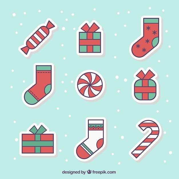 Natale adesivi collezione Vettore gratuito