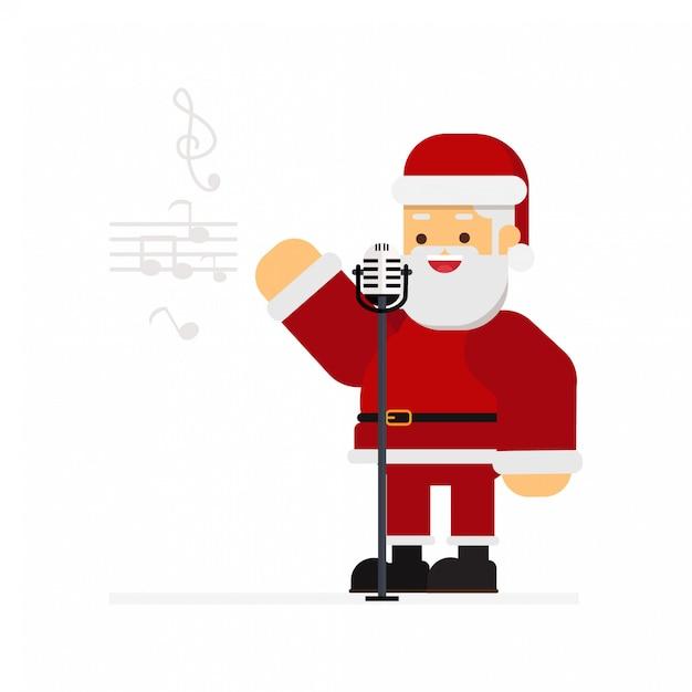 Natale babbo natale cantando canti di natale Vettore Premium