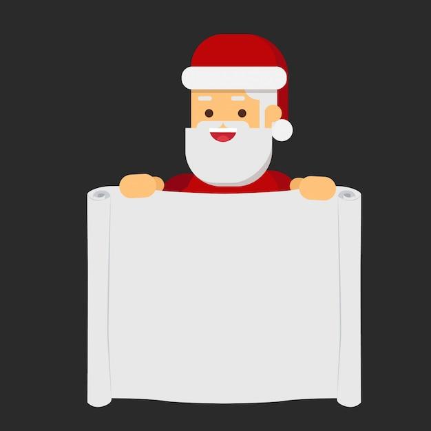 Natale babbo natale che punta a un segno di banner di scorrimento Vettore Premium