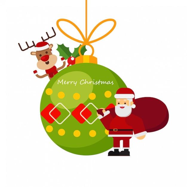 Natale babbo natale e renne Vettore Premium