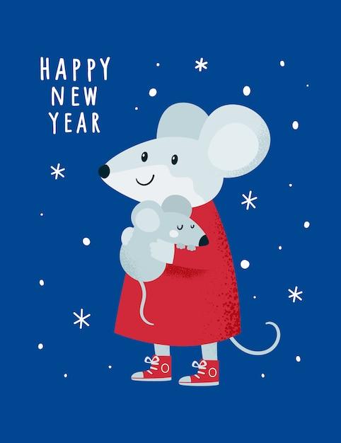 Natale capodanno 2020. ratto, topo, topi, bebè e mamma Vettore Premium