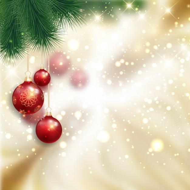 Natale con sfondo palline rosse Vettore gratuito
