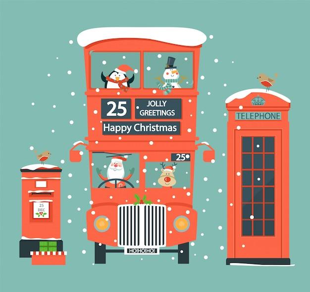 Natale con simboli inglesi. Vettore Premium