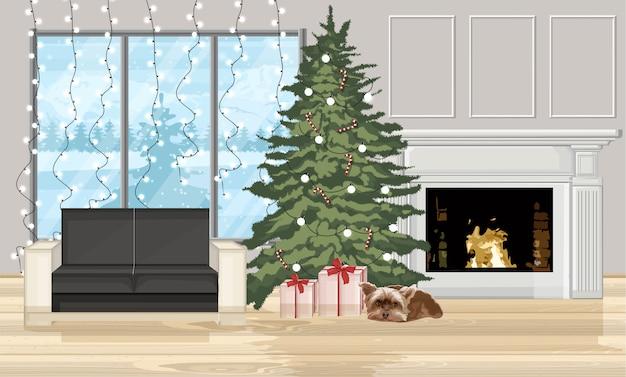 Natale decorato interni con albero e camino Vettore Premium