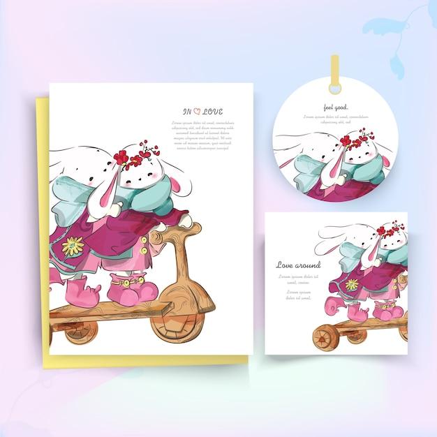 Natale della carta pink rabbit Vettore Premium