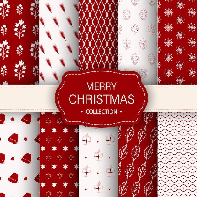 Natale diversi modelli senza soluzione. struttura senza fine per carta da parati o carta da imballaggio Vettore Premium