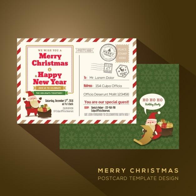 Natale e buon cartolina festa anno di posta aerea Vettore gratuito