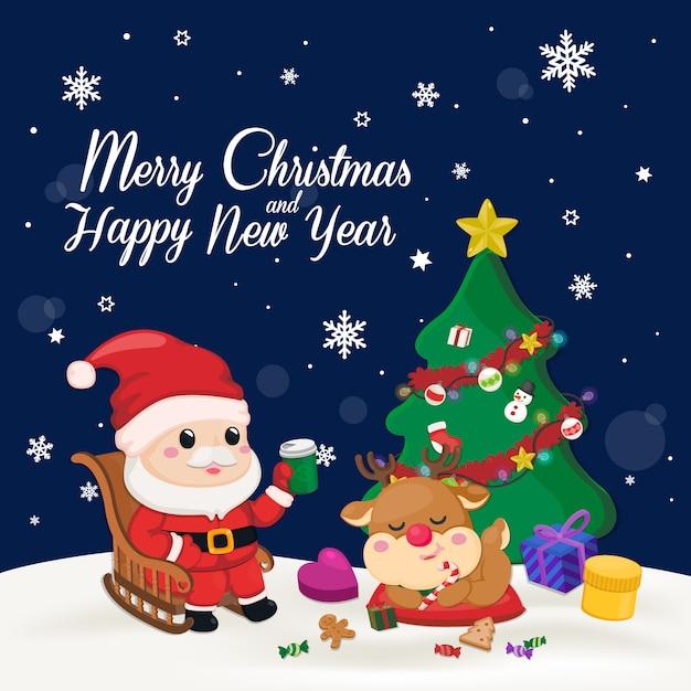 Natale e capodanno. babbo natale, albero di natale e un sacco di confezione regalo. Vettore Premium
