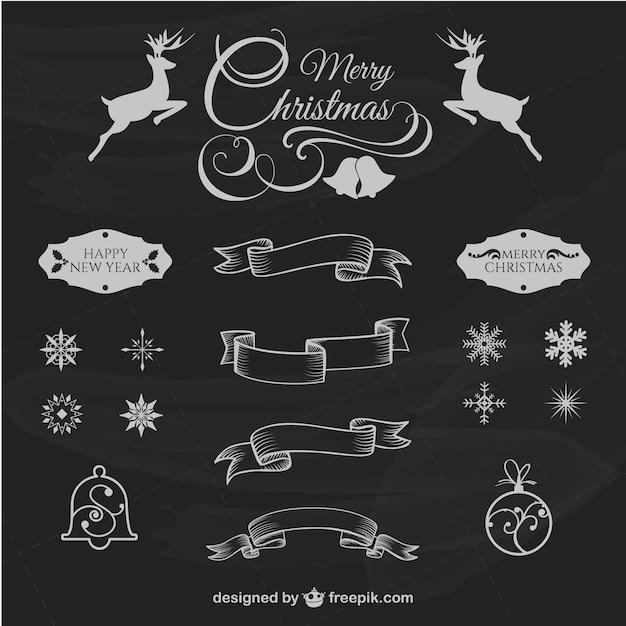 Natale elementi di design retr scaricare vettori gratis for Elementi di design