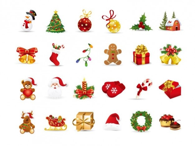 Natale elementi vettoriali set Vettore gratuito