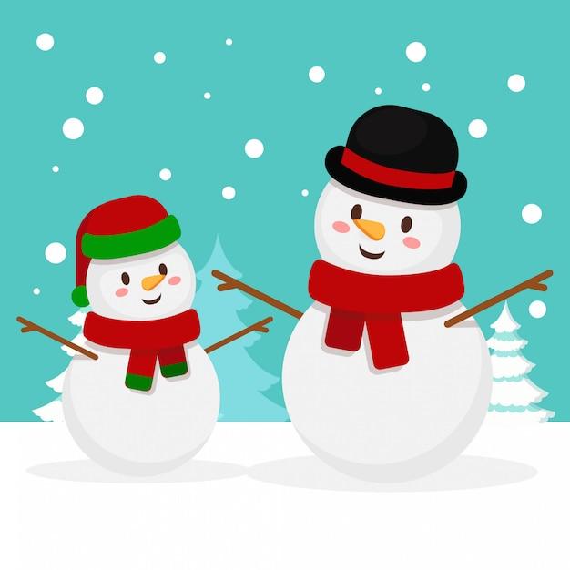 Natale famiglia di pupazzi di neve Vettore Premium