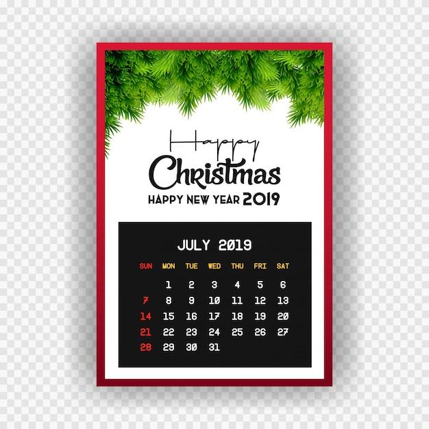 Natale felice anno nuovo 2019 calendario luglio Vettore Premium