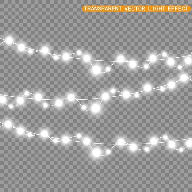 Natale luminoso, belle luci, elementi di design. luci incandescenti per la progettazione di biglietti di auguri di natale. ghirlande, decorazioni natalizie chiare. Vettore Premium