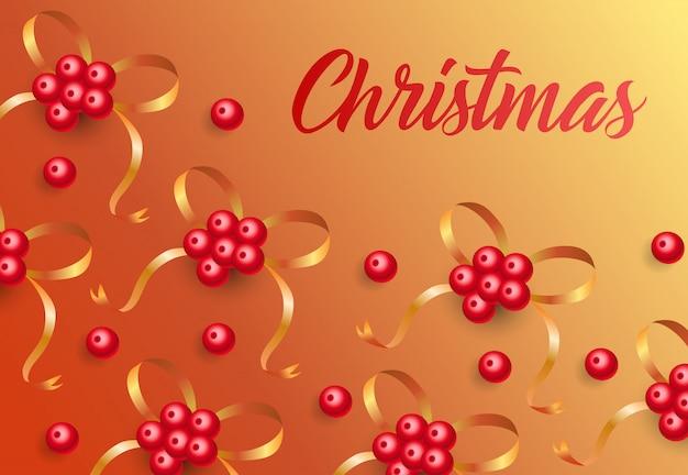 Natale scritte su sfondo con bacche di vischio Vettore gratuito