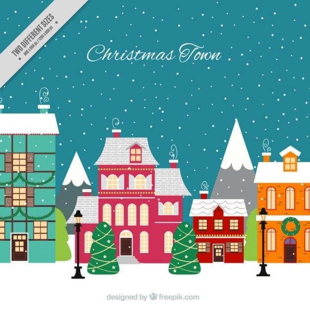 Natale sfondo della citt con le case in design piatto for Le case design