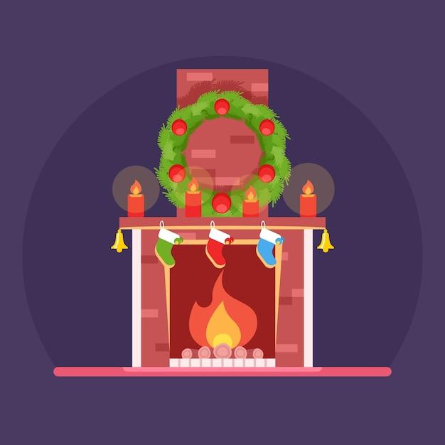 Natale simpatico cartone animato caminetto acceso