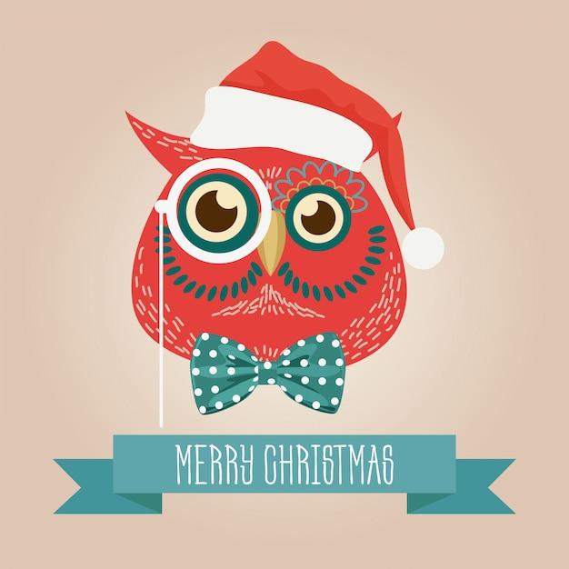 Natale simpatico gufo foresta logo Vettore Premium