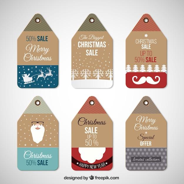 Natale vendite tag collection Vettore Premium