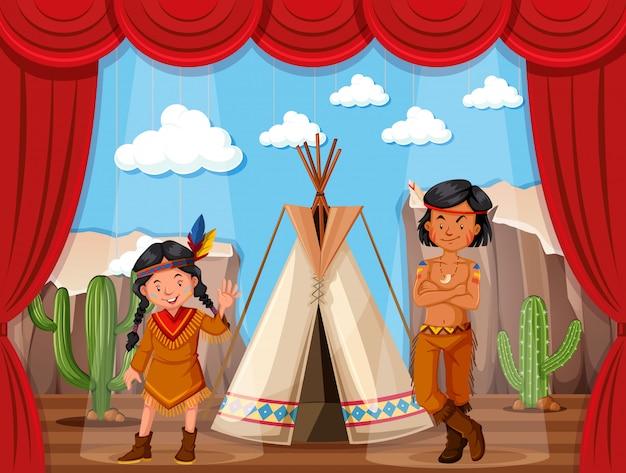 Native american roleplay sul palco Vettore Premium