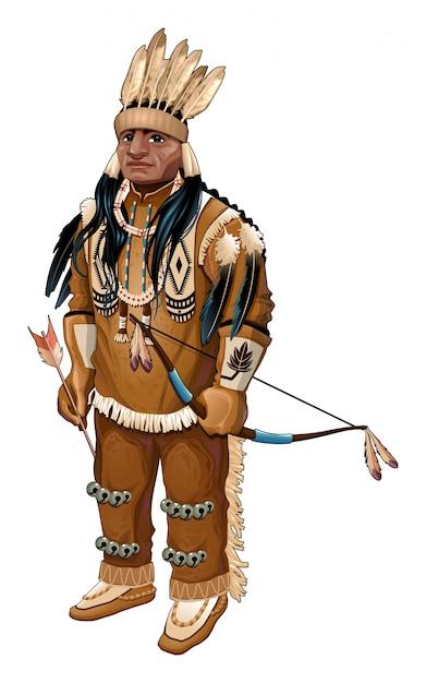 Nativi americani con arco e freccia vettore carattere isolato Vettore gratuito