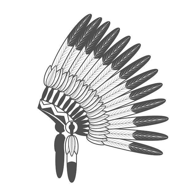 Nativo american feathered war bonnet Vettore Premium