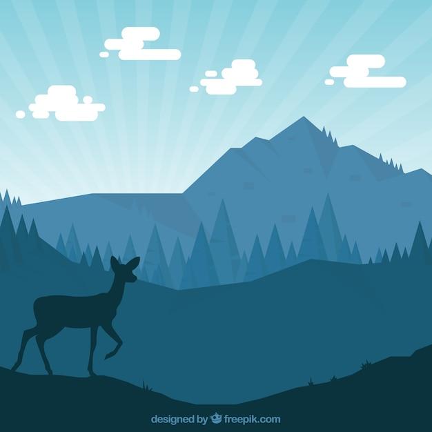 Natura sagome con un cervo Vettore gratuito