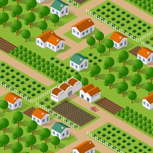 Natura vettoriale isometrica rurale Vettore Premium