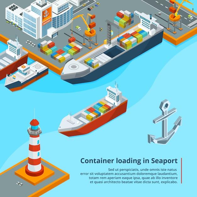 Nave da carico a secco con contenitori. lavoro industriale marittimo illustrazioni isometriche Vettore Premium