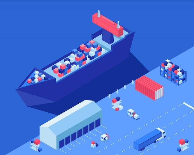 Nave da carico che scarica illustrazione isometrica di vettore. trasporto di distribuzione della spedizione, carrelli elevatori e camion con carico presso l'hub logistico Vettore Premium