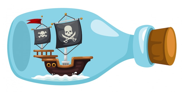 Nave pirata in bottiglia Vettore Premium