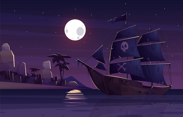 Nave pirata o galeone con teschio umano e ossa incrociate su vele nere Vettore gratuito