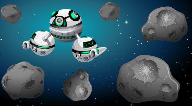 Nave spaziale e scena di asteroidi Vettore gratuito