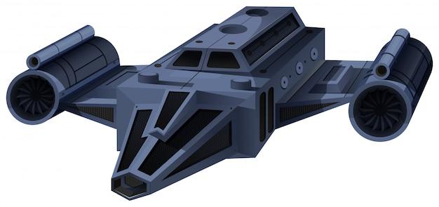 Nave spaziale nera che vola sul bianco Vettore gratuito