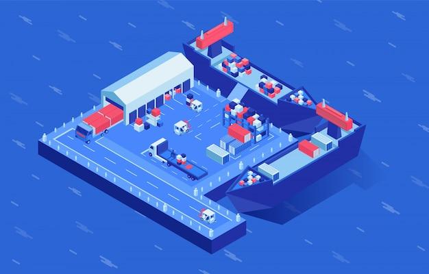 Navi all'illustrazione isometrica di vettore del cantiere navale. trasporto marittimo industriale nel centro logistico circondato dall'acqua. servizio di distribuzione spedizioni, spedizioni mercantili, spedizioni marittime Vettore Premium