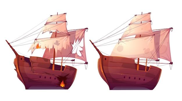 Navi in legno retrò con cartoon vela bianca Vettore gratuito