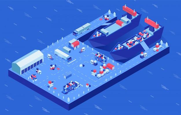 Navi merci nell'illustrazione isometrica di vettore del porto. processo di carico di navi industriali trasporto marittimo e terrestre alle banchine. spedizione di container, importazione ed esportazione di affari, servizio di archiviazione della spedizione Vettore Premium