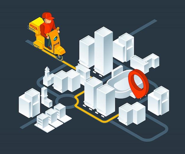 Navigazione della mappa isometrica urbana. mappa isometrica con consegna percorso di navigazione pizza Vettore Premium