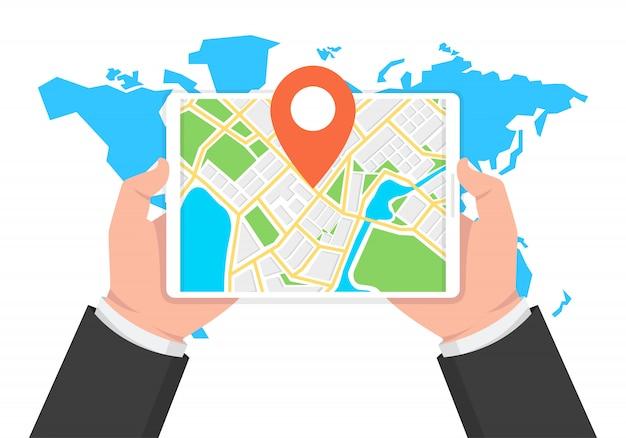Navigazione e tracciamento gps mobile su tablet Vettore Premium