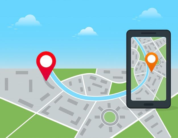 Navigazione gps mobile e concetto di app di localizzazione. smartphone nero con mappa della città e pennarello. Vettore Premium