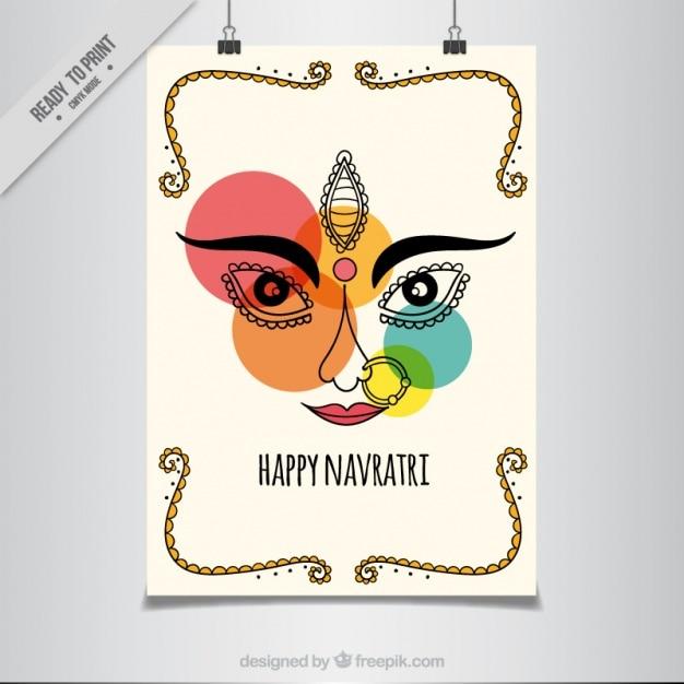 Navratri manifesto astratto con cerchi colorati Vettore gratuito