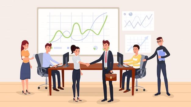 Negoziazione aziendale piatta Vettore Premium