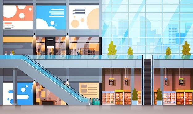 Negozio al dettaglio moderno con molti negozi e supermercato vuoto interno Vettore Premium