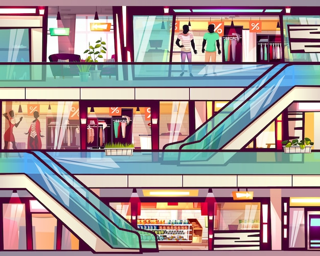 Negozio del centro commerciale con l'illustrazione della scala della scala mobile. Vettore gratuito