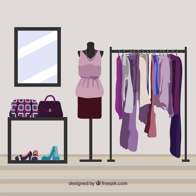 Negozio di abbigliamento violet Vettore gratuito