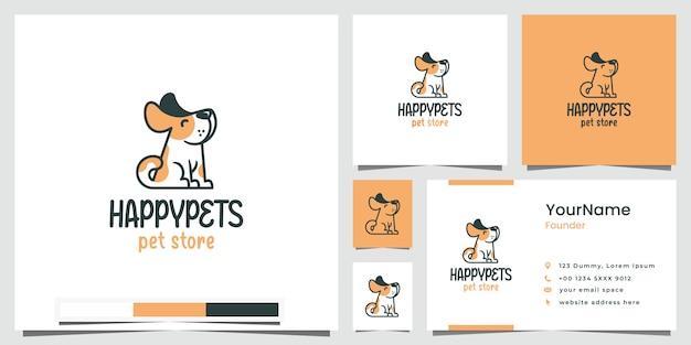 Negozio di animali domestici felice logo design ispirazione Vettore Premium