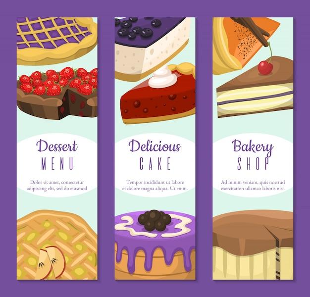 Negozio di dolci set di banner. dolci al cioccolato e fruttati per pasticceria Vettore Premium