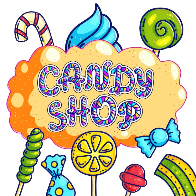Negozio di dolciumi disegnati a mano logo design Vettore Premium