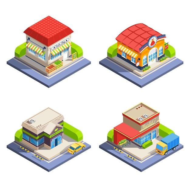 Negozio di edifici isometrici impostati Vettore gratuito