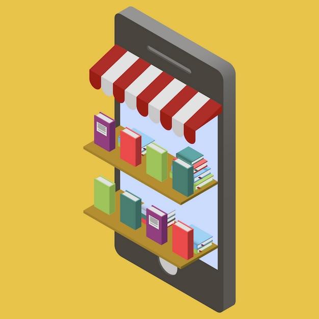 Negozio di libri online Vettore Premium